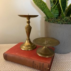 Brass Candle Holders Mismatched Vintage Wedding